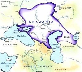 Location of the Khazar Kingdom (Khaganate of Khazaria), 8th century
