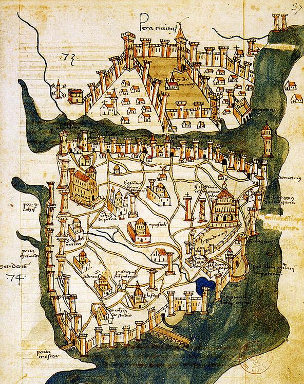 15th century Constantinople map