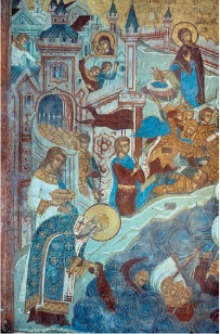 Fresco of Patriarch Photios saving Constantinople from the Rus' fleet's attack