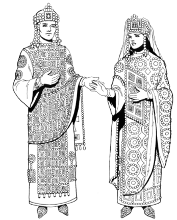 Emperor Romanos II (left, r. 959-963), son of Constantine VII and Helena Lekapene, Empress Theophano (right)