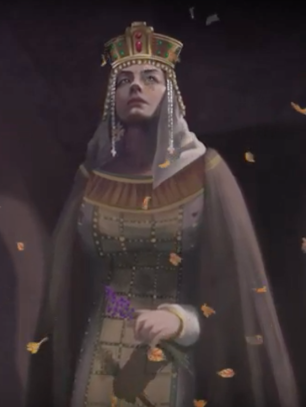 Empress Irene of Byzantium (r. 797-802) in full imperial dress and veil