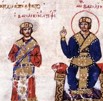 Emperor Michael III proclaims Basil the Macedonian (left) co-emperor, 866