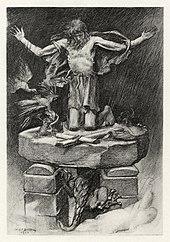 Stylite saint exposed to heat, rain, and wind