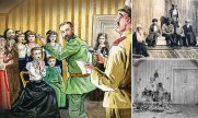 Illustration and photographs of the Romanov execution