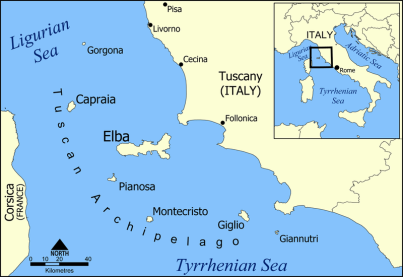 Location of Pianosa in Italy (formerly Planasia)
