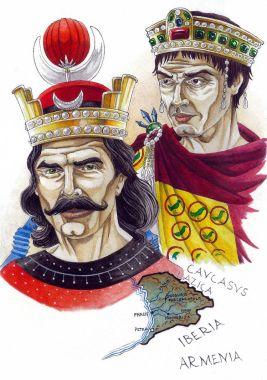 Khosrow I of Sassanid Persia (front) and Justinian I of Byzantium (back)