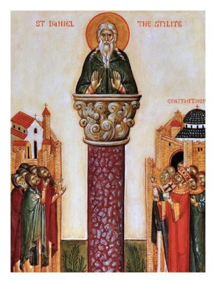 St. Daniel in his column outside Constantinople with Emperor Leo I on the right