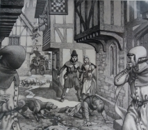 Medieval city during Black Death