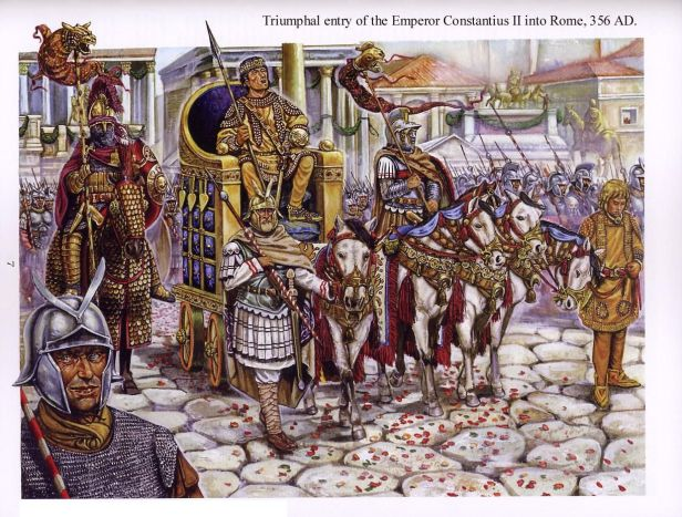 Emperor Constantius II and his hygienic practices, entrance to Rome