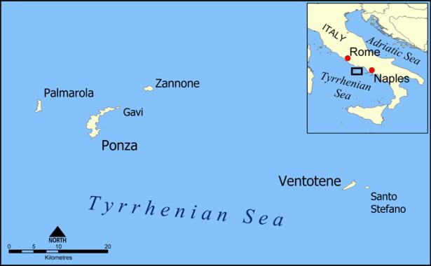 Location of Ventotene (formerly Pandateria)