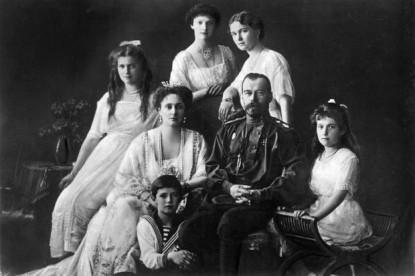 The Romanov family, the last Russian tsar Nicholas II and wife Alix of Hesse, children Olga, Tatiana, Maria, Anastasia, and son Alexei