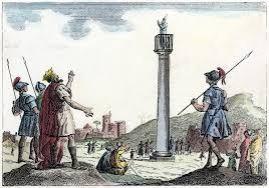 Emperor Theodosius II and army encounter St. Simeon in his column