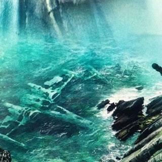 Luke Skywalker's X-wing in the water