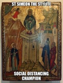 St. Simeon social distancing meme