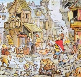 Dirty conditions in medieval streets