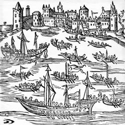 Genoese ships docked at Kaffa