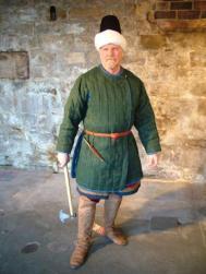 Byzantine Psiloi (skirmisher) in a Kavadion vest, turban, and Tzikourion axe
