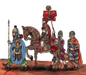 Palatini soldiers with Emperor Julian (on horse)