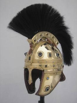 Spangenhelm helmet with a crest, of barbarian origin