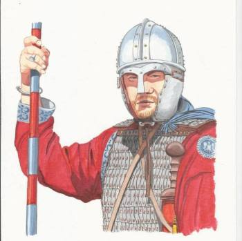 Late Roman Comitatenses soldier with ridge helmet and colored spear