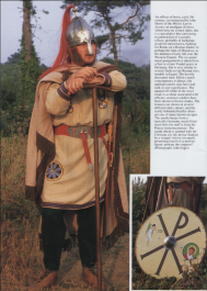 Foederati soldier in native barbarian arms and helmet
