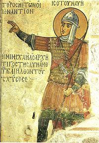Skoutatoi soldier in full armor in a Byzantine fresco