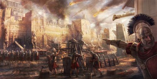 Roman legions besiege a city