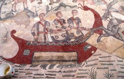 Late Roman legionnaires in tunics mosaic
