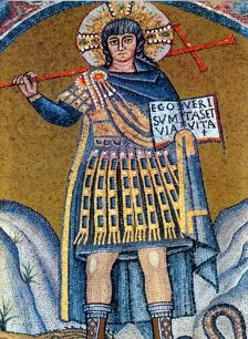 Mosaic of Christ depicted as a Palatini or Excubitor soldier, Ravenna