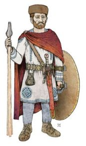 Late Roman Limitanei soldier wearing a Dalmatica tunic, Paludamentum, and Pileus hat