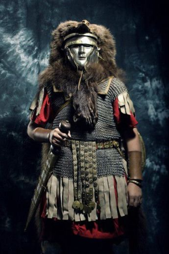 Roman officer with a mask