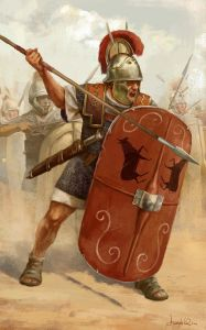 Roman Triarii in a Corinthian helmet