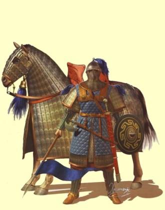 Cataphract in full armor including Epilorikon and Kontarion spear