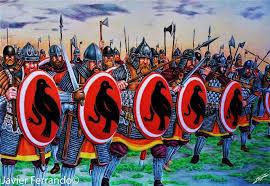 Varangians with native Viking shields