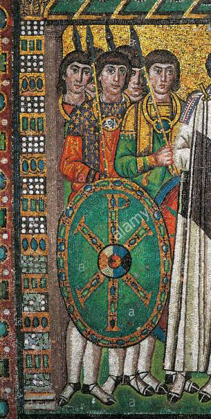 Excubitor soldiers in the Ravenna mosaics