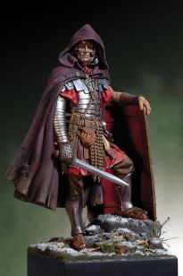 2nd century Roman legionnaire in full extended attire: Gallic cloak, pants, and Manica