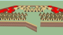 Wooden Roman camp with tents