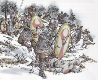 Armored and unarmored late Roman legionnaires in battle