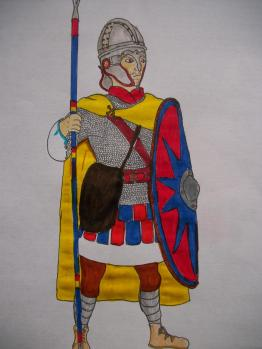 Comitatenses soldier in full equipment with Hasta spear