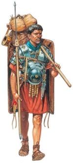 Roman legionnaire carries his equipment