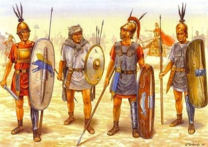 Early Roman units, left to right: Hastati, Velite, Triarii, Principes