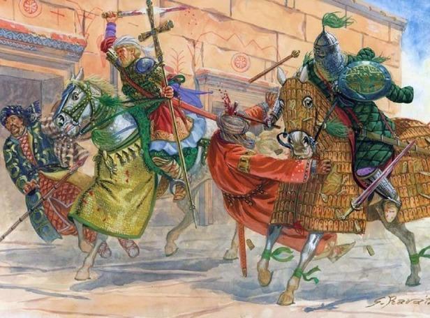 Byzantine Tagmata cavalry attacking the Arabs