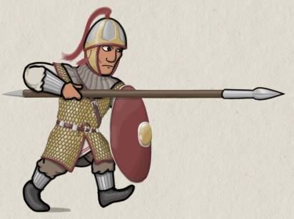 Early Byzantine infantry Comitatenses with full armor, arm and leg guards
