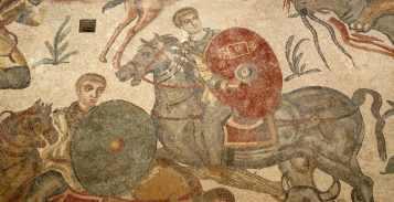 Mosaic showing a late Roman cavalryman