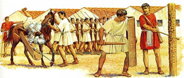 Training in a Roman army camp