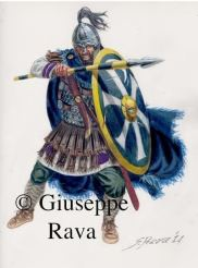 Palatini soldier in full armor, spear and Chi-Rho shield