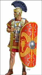 Praetorian Guard in full armor, sword, and shield