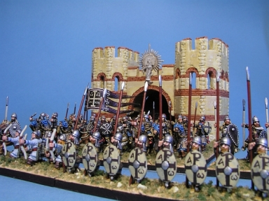 Thematic army in battle position, Cataphract cavalry behind infantry