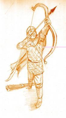Byzantine Toxotai with bow drawn