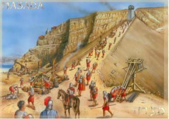 Roman Legionnaires head up the Agger (ramp) to Masada